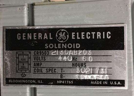Label view of a GE CR9503213CAB203 industrial solenoid