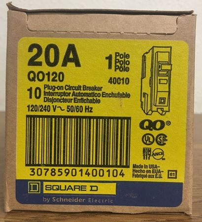 Image of the box of a QO120 Square D circuit breaker